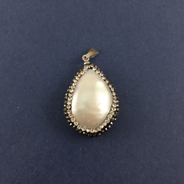 Mother of Pearl Pendant with Pave Stones