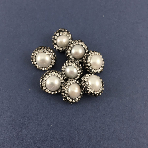 10mm Mother of Pearl Round Pave Bead