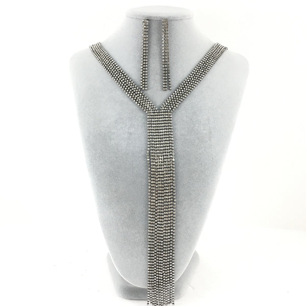 6 Row Gunmetal Rhinestone Necklace | Fashion Jewellery Outlet