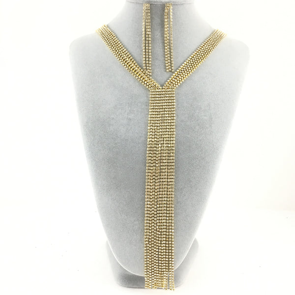 6 Row Gold Rhinestone Necklace | Fashion Jewellery Outlet