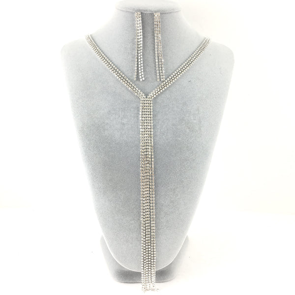 3 Row Silver Rhinestone Necklace | Fashion Jewellery Outlet