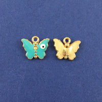 Alloy Charm Green Butterfly Evil Eye Charm | Fashion Jewellery Outlet