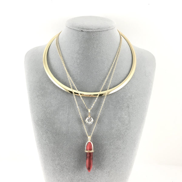Boho Style Chain Choker Red Bullet Necklace | Fashion Jewellery Outlet