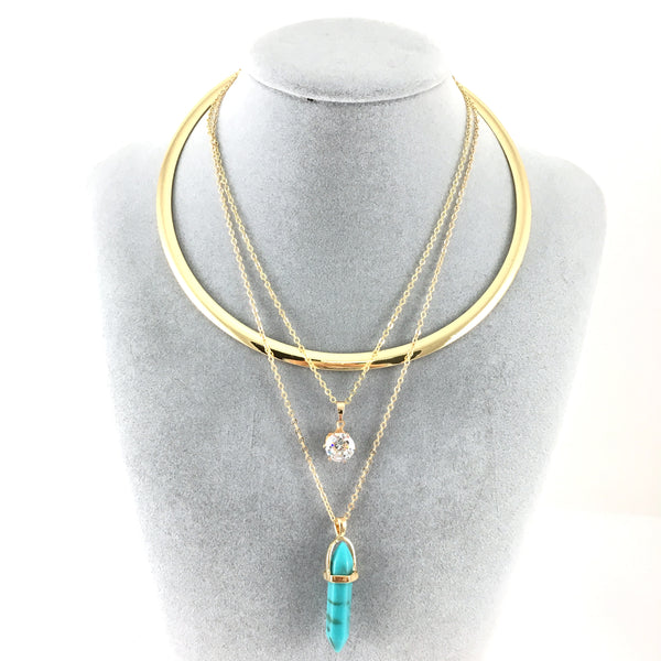 Boho Style Chain Choker Blue Bullet Necklace | Fashion Jewellery Outlet