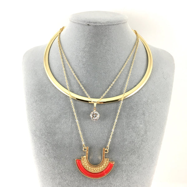 Boho Style Chain Choker Half Moon Red Tassel Pendant Necklace