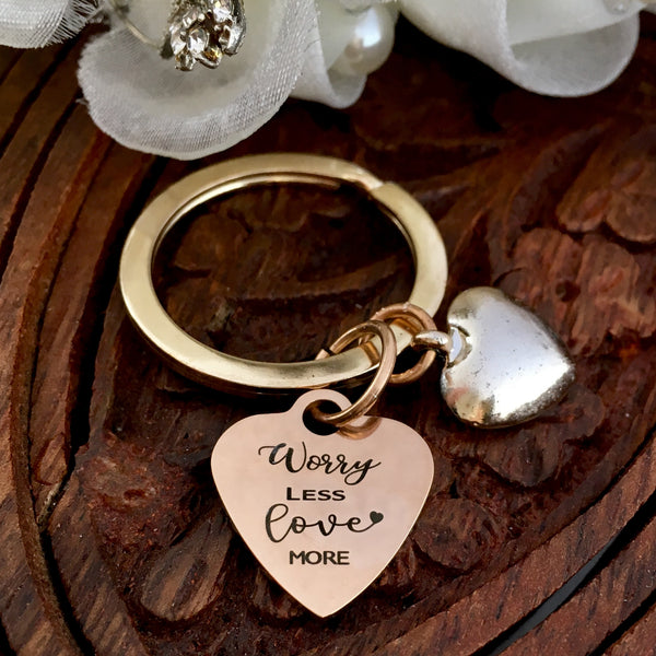 Worry LESS Love MORE Laser Engraved Custom Keychain | Fashion Jewellery Outlet