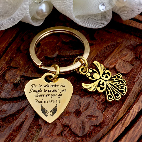Psalm 91:11 Custom Gold Key Chain | Fashion Jewellery Outlet