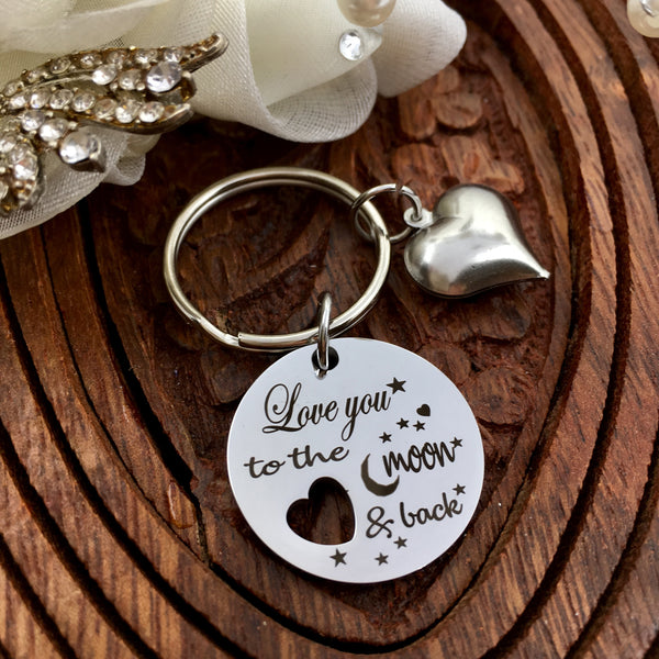 Love you to the moon & back Custom Key Chain | Fashion Jewellery Outlet