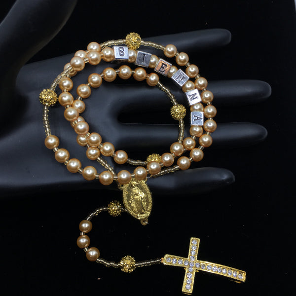 Gold Glass Pearls Custom Handmade Rosary | Fashion Jewellery Outlet
