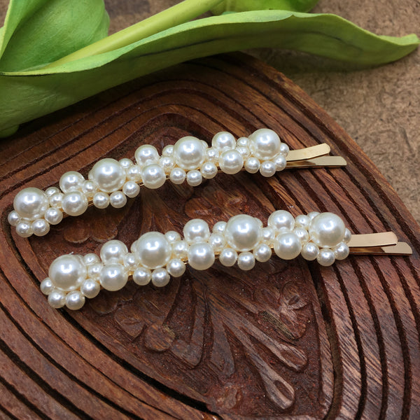 Gold Hair Pins with Pearls | Fashion Jewellery Outlet