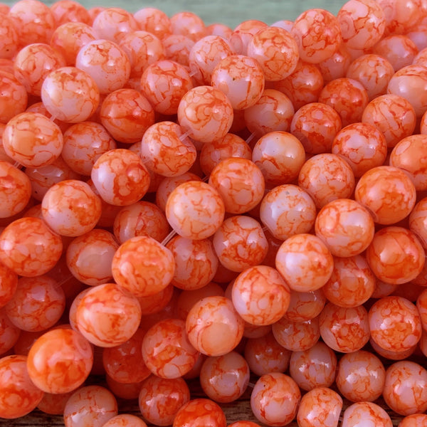 8mm Faux Marble Orange Glass Pearl | Fashion Jewellery Outlet