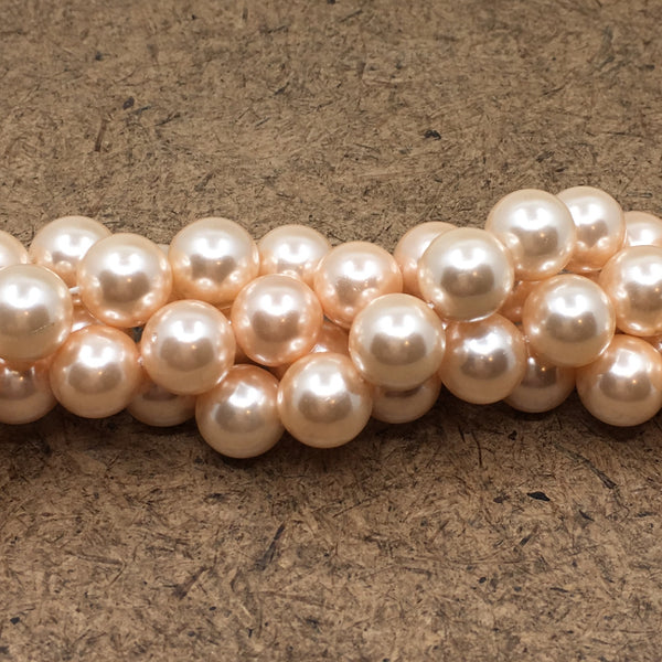 8mm Blush Peach Shell Pearls | Fashion Jewellery Outlet