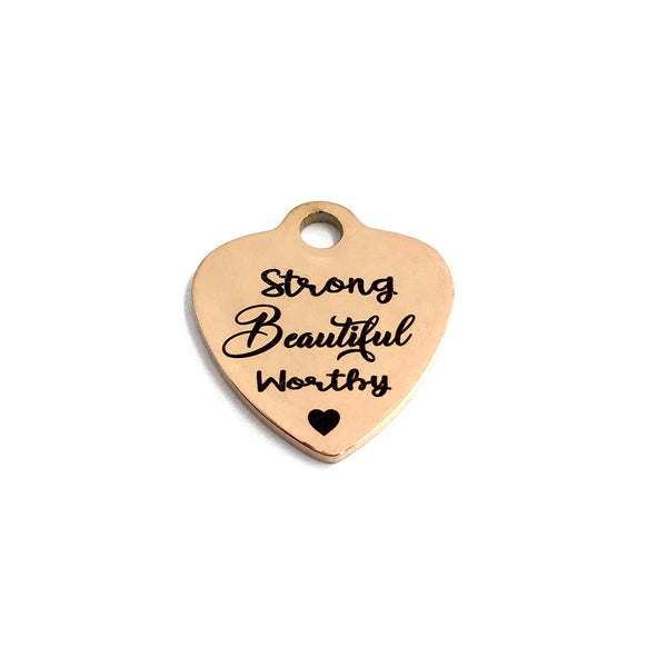 Strong Beautiful Worthy ♥ Engraved Charm | Fashion Jewellery Outlet