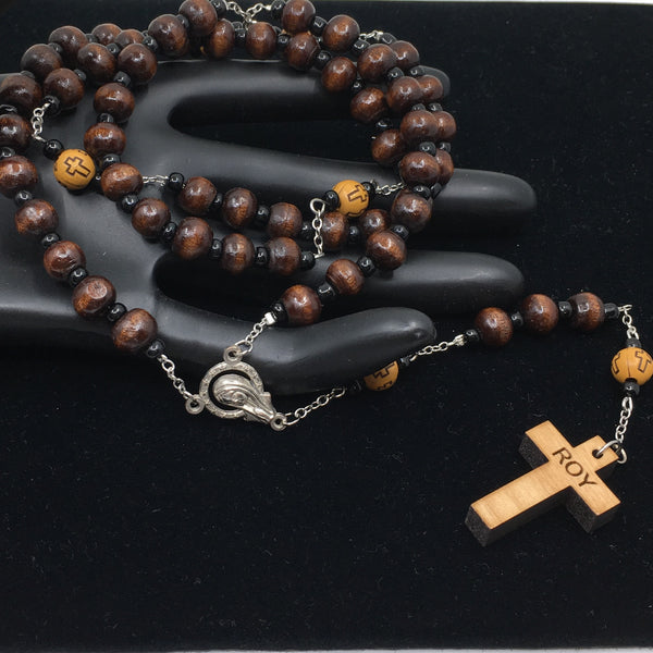 Laser Engraved Cross Wood Beads Custom Name Handmade Rosary | Fashion Jewellery Outlet
