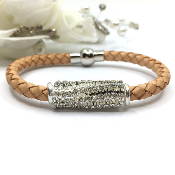 Rhinestone Tube Tan Leather Bracelet | Fashion Jewellery Outlet