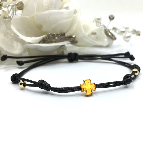 Black Cord with Gold Cross Bracelet | Fashion Jewellery Outlet