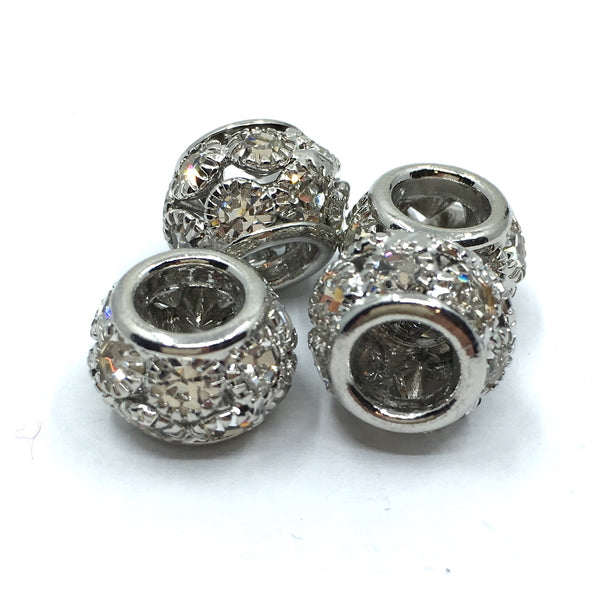 Rhodium Rondelle Round Beads | Fashion Jewellery Outlet