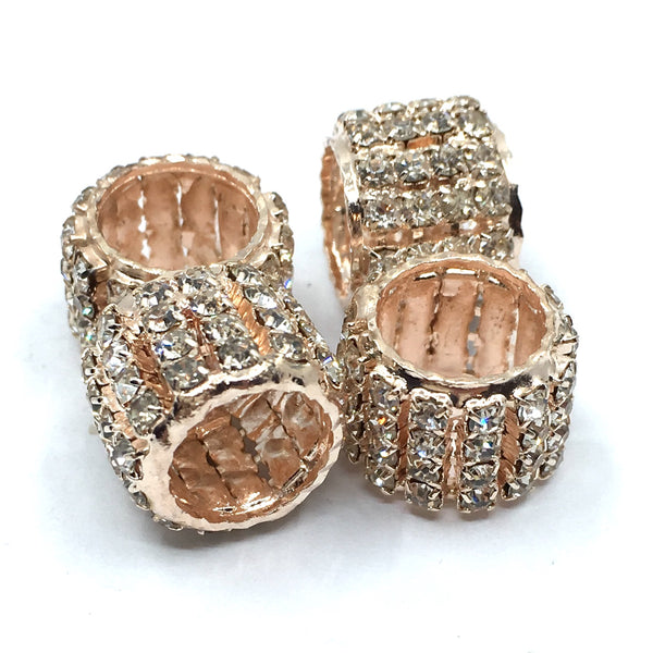 Rose Gold Rhinestone Spacer Beads | Fashion Jewellery Outlet