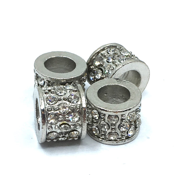 Rhodium Flat Round Beads | Fashion Jewellery Outlet