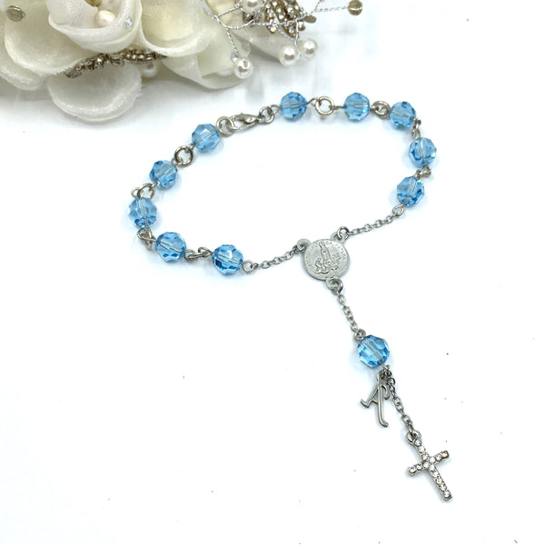 Aquamarine Swarovski Bead Rosary | Fashion Jewellery Outlet