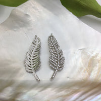 Leaf CZ Pave Connector with clear/gold cubic zirconia