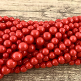 10mm Faux Glass Pearl beads, Deep Solid Red | Fashion Jewellery Outlet