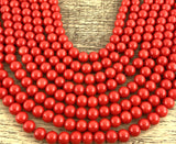 6mm Faux Glass Pearl Beads Deep Solid Red | Fashion Jewellery Outlet