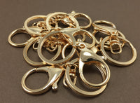 6 Gold Plated Large Lobster Clasps with Key Ring | Fashion Jewellery Outlet