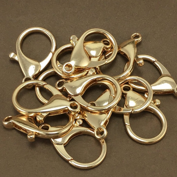 8 Gold Plated Large Lobster Clasps | Fashion Jewellery Outlet