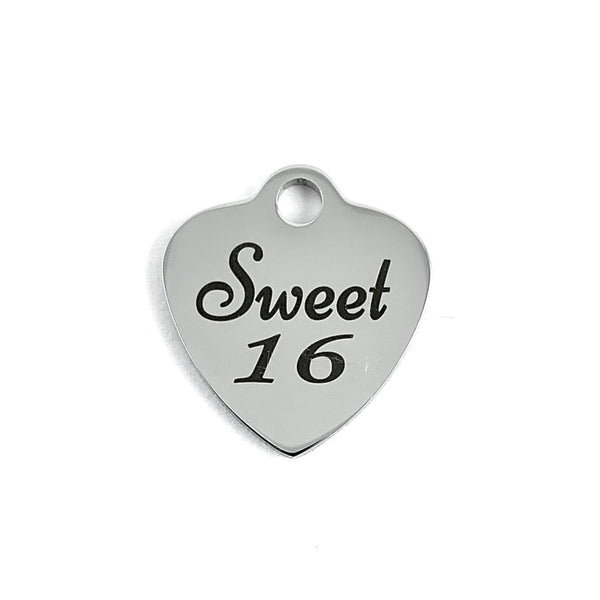 Sweet 16 Laser Engraved Charm | Fashion Jewellery Outlet