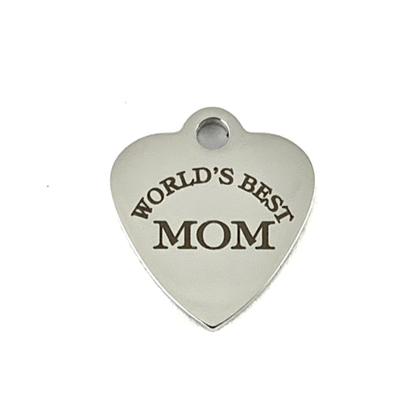 World's Best Mom Laser Engraved Charm | Fashion Jewellery Outlet