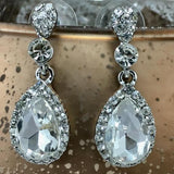 Crystal Round/ Teardrop Earrings, Silver | Fashion Jewellery Outlet