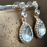Crystal Round/ Teardrop Earrings, Rose Gold | Fashion Jewellery Outlet