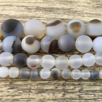 4mm White Frosted Agate Bead | Fashion Jewellery Outlet