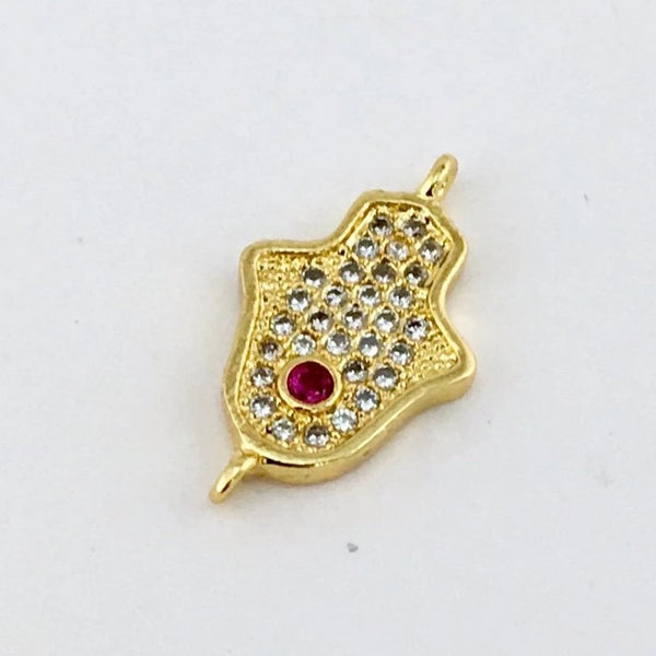 Faux Ruby Stone CZ Pave Hamsa Connector, Gold | Fashion Jewellery Outlet