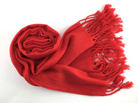 Pashmina Scarf with Fringe, Red | Fashion Jewellery Outlet