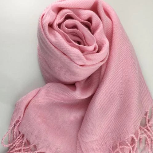 Pashmina Scarf with Fringe, Pink | Fashion Jewellery Outlet