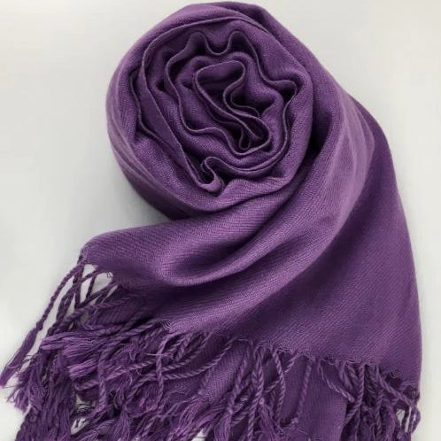 Pashmina Scarf with Fringe, Purple | Fashion Jewellery Outlet