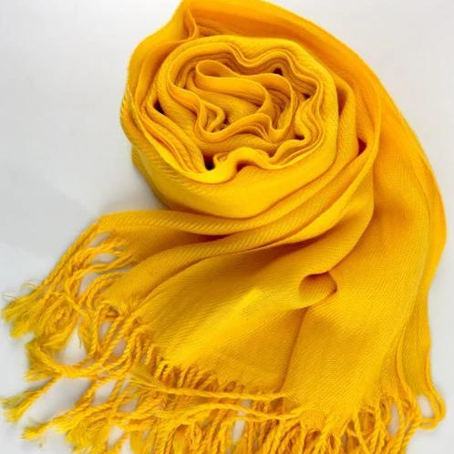 Pashmina Scarf with Fringe, Yellow | Fashion Jewellery Outlet