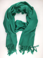Pashmina Scarf with Fringe, Peacock Green | Fashion Jewellery Outlet