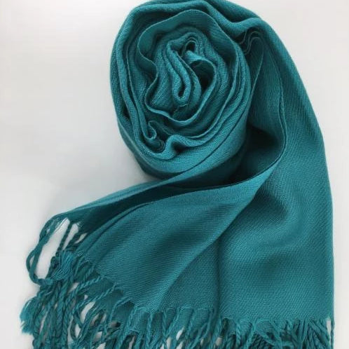 Pashmina Scarf with Fringe, Teal Blue | Fashion Jewellery Outlet