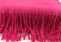 Pashmina Scarf with Fringe, Fuchsia Pink | Fashion Jewellery Outlet