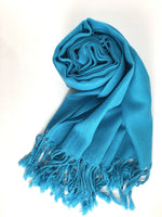 Pashmina Scarf with Fringe, Blue | Fashion Jewellery Outlet