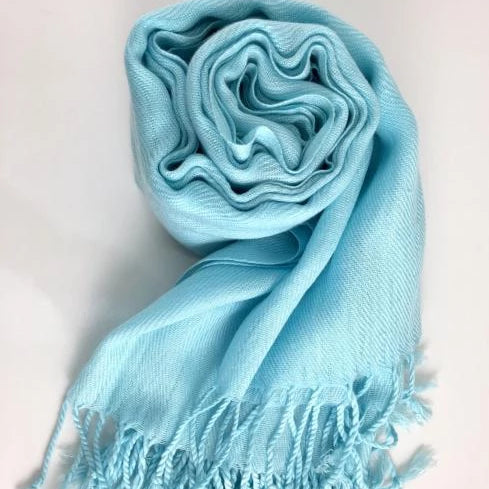 Pashmina Scarf with Fringe, Baby Blue | Fashion Jewellery Outlet