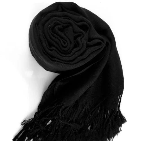 Pashmina Scarf with Fringe, Black | Fashion Jewellery Outlet