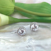 Round Cubic Zirconia Bridal Earrings | Fashion Jewellery Outlet