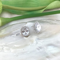 Oval Shape Cubic Zirconia Bridal Earrings | Fashion Jewellery Outlet