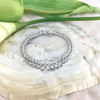 Cubic Zirconia Floral Flower Marquise Bracelet | Fashion Jewellery Outlet