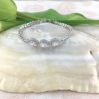 Cubic Zirconia Teardrop Bridal Bracelet | Fashion Jewellery Outlet
