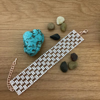 Rhinestone Bracelet, Rose Gold | Fashion Jewellery Outlet